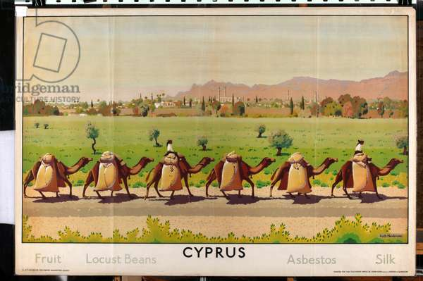 Cyprus: Fruit - Locust Beans - Asbestos - Silk, from the series 'Some Empire Islands' (colour litho)