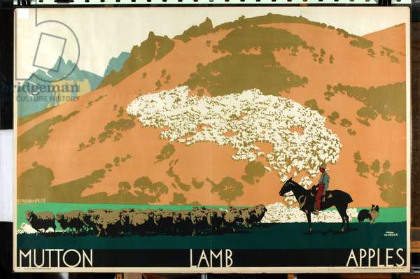 Mutton - Lamb - Apples, from the series 'Buy New Zealand Produce' (colour litho)