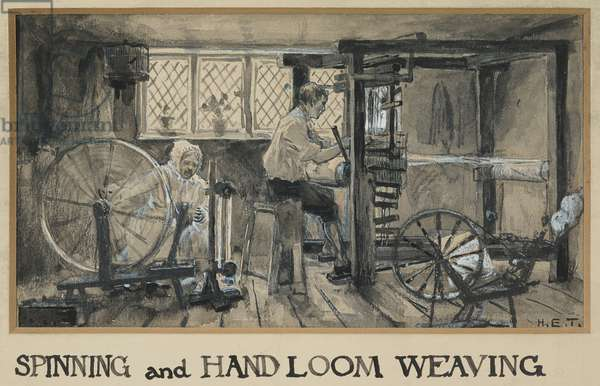 The Age of Industry: Spinning & Hand Loom Weaving, 1893-94 (w/c gouache on paper)
