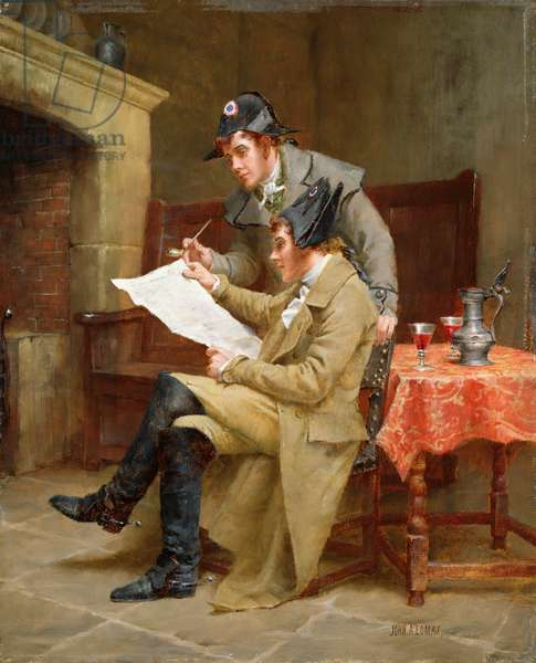 News of the Army, c.1900 (oil on panel)