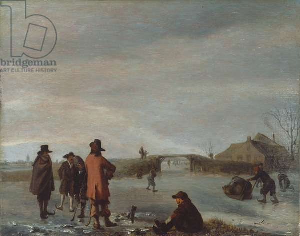 Winter scene with a group of golfers on a frozen river, c.1654-72 (oil on panel)