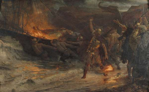 The Funeral of a Viking, 1893 (oil on canvas)