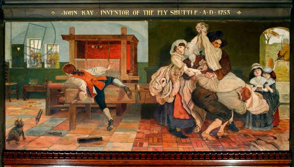 John Kay Inventor of the Fly Shuttle AD 1753, 1890 (pigment, varnish, gum & wax on panel)