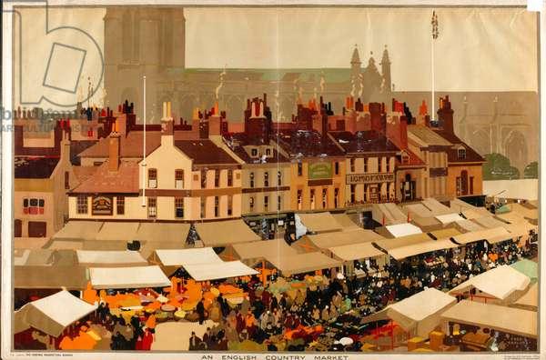 An English Country Market (colour litho)