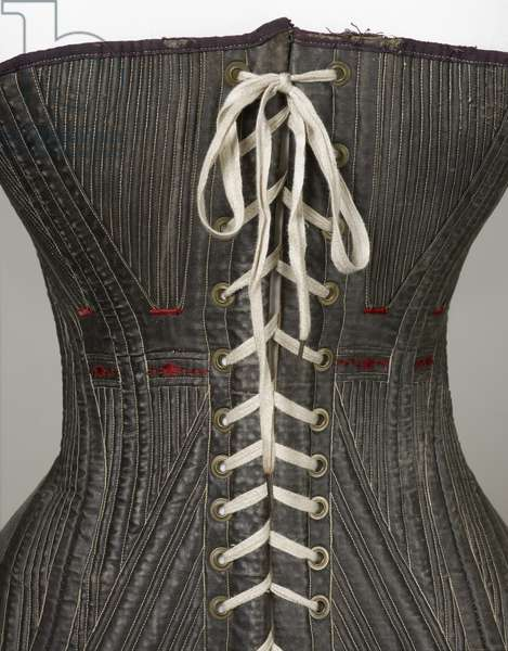 Corset (view J), 1840-50 (cotton, metal, leather & satin)
