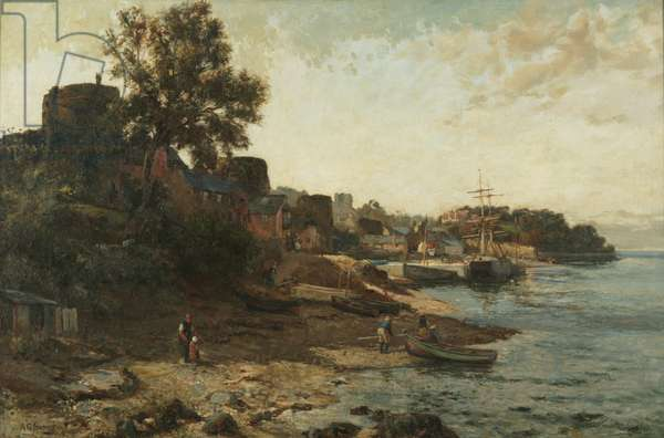 Conway Quay (oil on canvas)