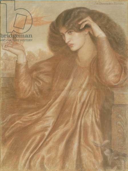La Donna della Fiamma, 1870 (pastel & pencil on paper)