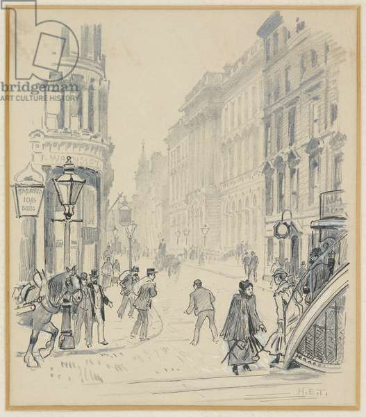 The General Post Office from Market St, 1893-94 (pencil ink on paper)