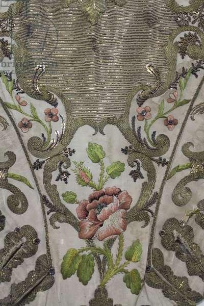 Detail of a Stomacher, c.1730-50 (silk & linen)