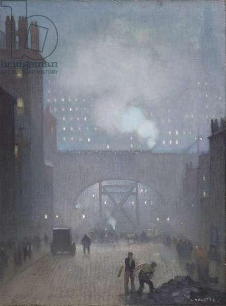 York Street leading to Charles Street, Manchester, 1913 (oil on linen)