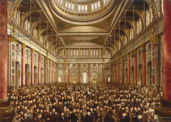 Interior of the Manchester Exchange, 1877 (oil on canvas)