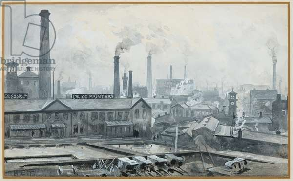 View from London Road Station, Hoyle's Print Works (w/c on paper)