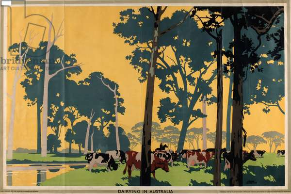 Dairying in Australia, from the series 'Empire Buying Makes Busy Factories' (colour litho)
