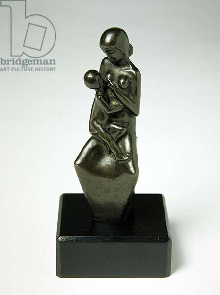Mother and Child (brass and wood)
