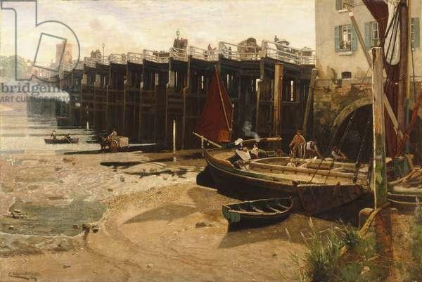 Old Putney Bridge, 1882 (oil on canvas)