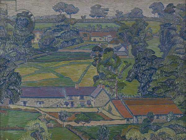 Landscape with Farmhouses, c.1912-13 (oil on canvas)