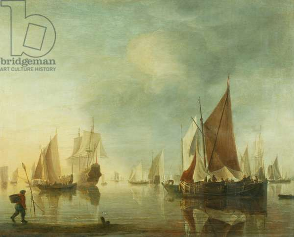 Shipping at anchor offshore in a calm sea; evening light, c.1650-60 (oil on panel)