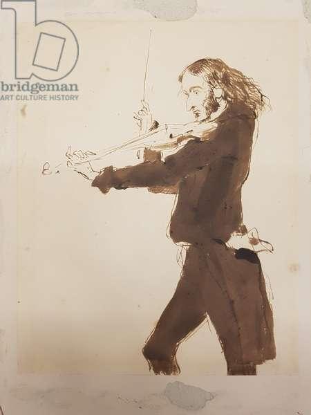 Niccolò Paganini Playing The Violin, 1840 (w/c on paper)