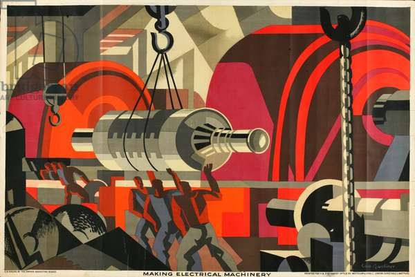 Making Electrical Machinery, from the series 'Empire Buying Makes Busy Factories', 1928 (colour litho)