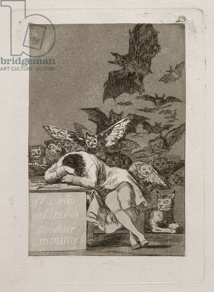 El Sueño De La Razon Produce Monstruos (The Dream of Reason Produces Monsters), 1799 (etching & aquatint)