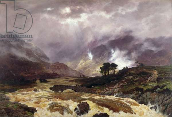 A Spate in the Highlands, 1866 (oil on canvas)