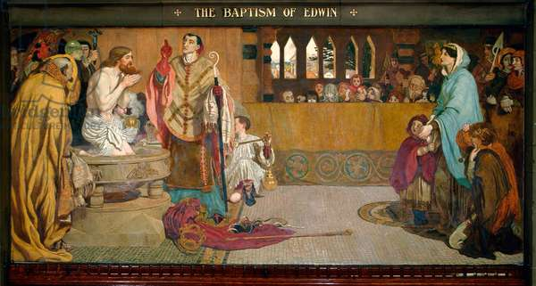 The Baptism of Edwin, 1879 (pigment, varnish, gum & wax on panel)