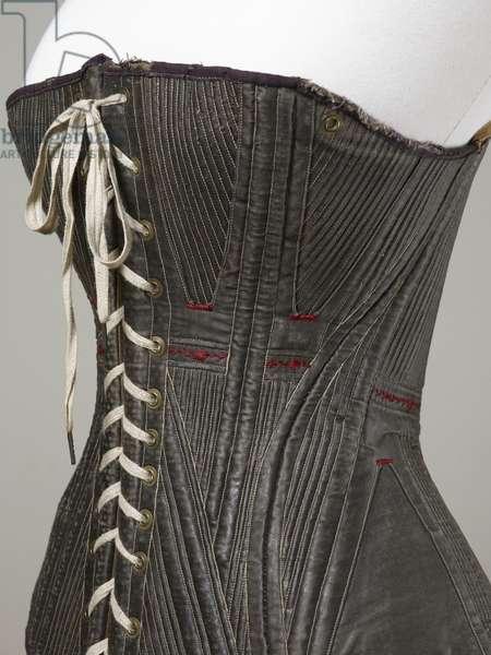 Corset (view K), 1840-50 (cotton, metal, leather & satin)
