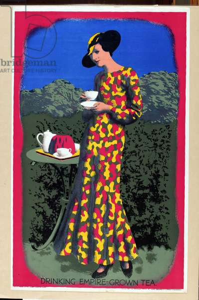 Drinking Empire Grown Tea, from the series 'Drink Empire Grown Tea' (colour litho)
