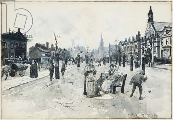 Broad Street, Pendleton, 1893-94 (w/c gouache on paper)