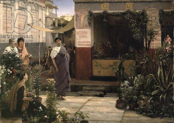 A Roman Flower Market, 1868 (oil on panel)