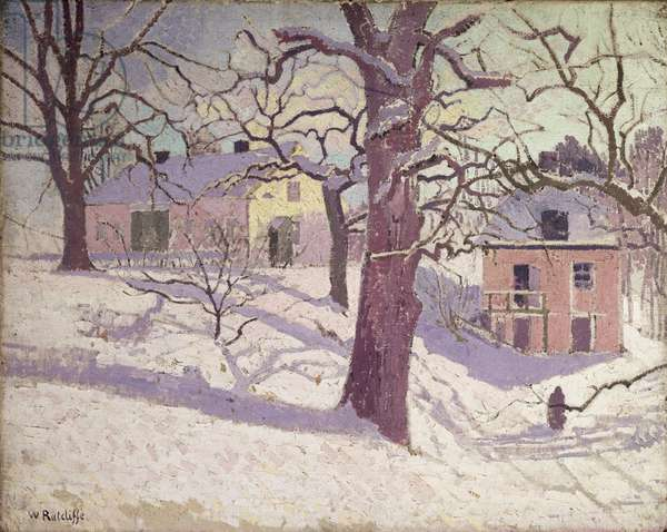 Winter Scene, Sweden (oil on canvas)