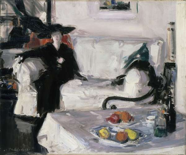 Interior with figure, 1914-15 (oil on canvas)