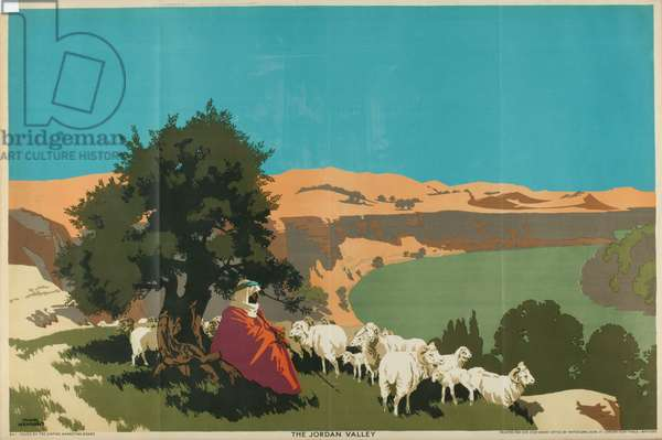 The Jordan Valley, from the series 'Buy Jaffa Oranges' (colour litho)