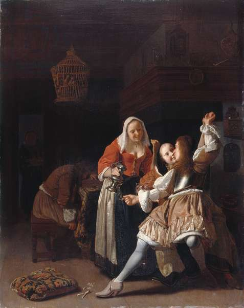 The Embracing Cavalier, c.1660-65 (oil on panel)