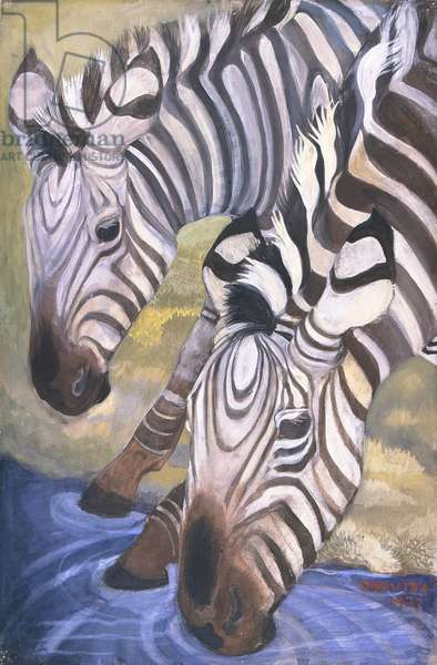 Zebras Drinking, 1937 (oil on canvas)