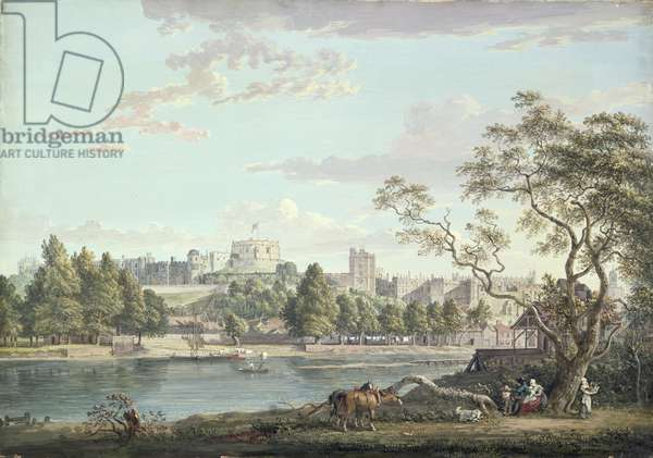 Windsor Castle, from across the Thames (bodycolour over pencil on paper)