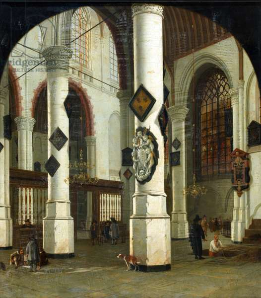 Interior of the Oude Kerk at Delft, 1660-75 (oil on canvas)