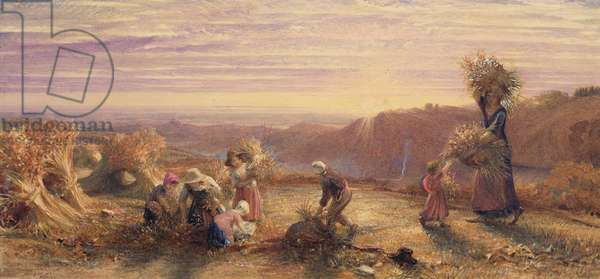 Sunset over the Gleaning Fields, 1855 (pencil, w/c & bodycolour on paper)