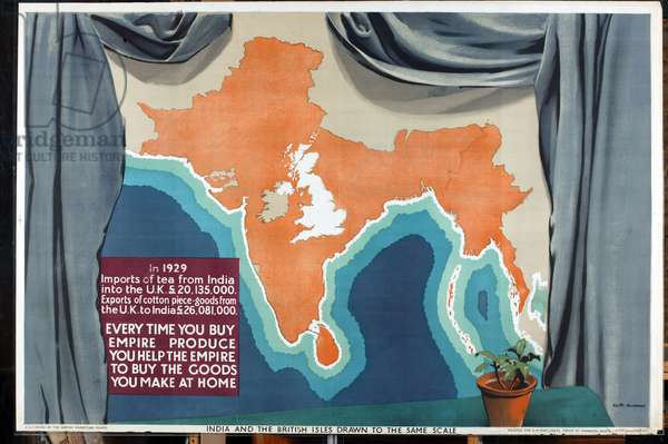 India and the British Isles drawn to the same scale, from the series 'Empire Buying Makes Busy Factories' (colour litho)