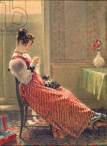 Lady Sewing, c.1830 (w/c on paper)