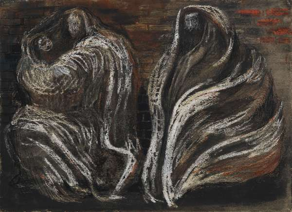 Shelter Scene: Two Swathed Figures, 1941 (pen & ink with w/c and gouache on paper)