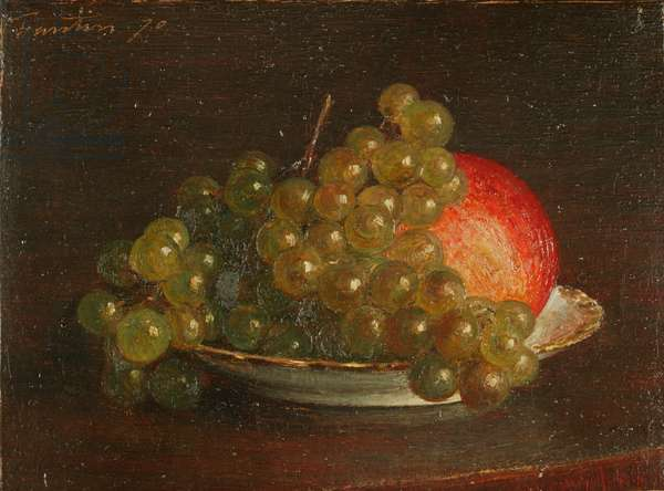 Grapes and an apple, 1870 (oil on canvas)