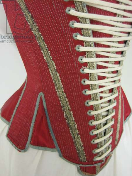 Corset, Stays and Stomacher, 1620-40 (satin, linen & silk ribbon)