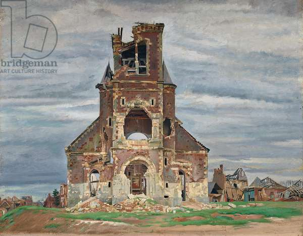 The Church at Bourlon (oil on canvas)