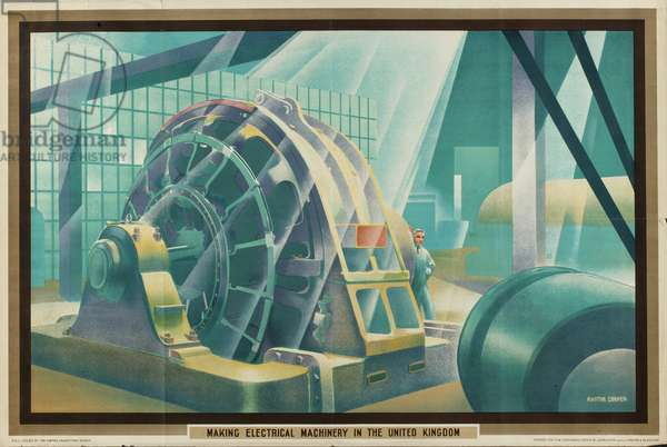 Making Electrical Machinery in the United Kingdom, from the series 'Empire Buying Makes Busy Factories', 1930 (colour litho)
