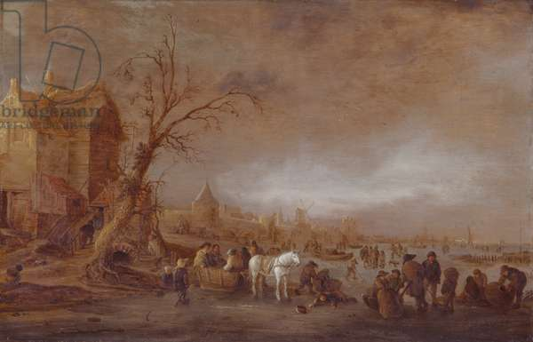 Winter Scene, With Figures On A Frozen River In Front Of A Walled Town, 1642 (oil on panel)
