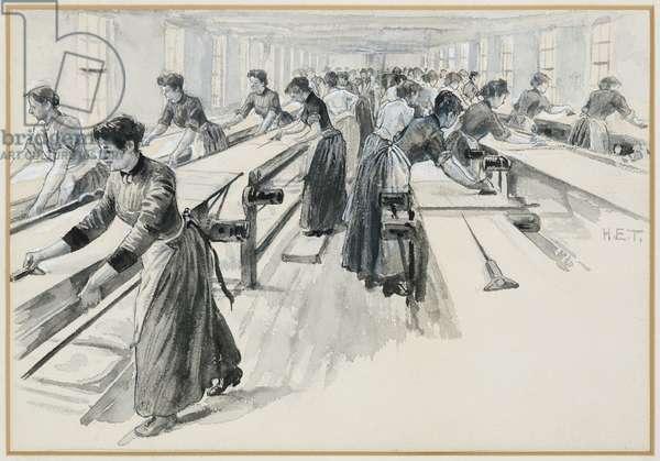 Velveteen Cutting at Platts' Works, Warrington, 1893-94 (w/c gouache on paper)