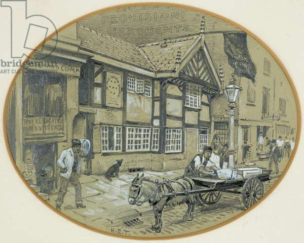 The Old Seven Stars, Withy Grove, 1893-94 (pencil, charcoal, wax on paper)