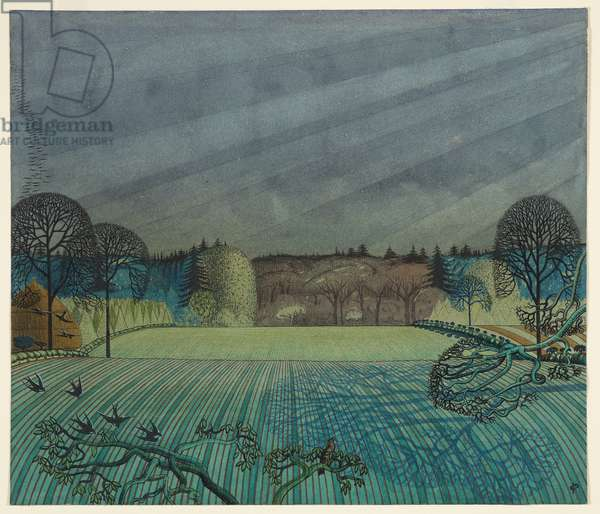 Landscape: Arable and Pasture Land, c.1925 (ink, w/c, crayon & pencil on paper)