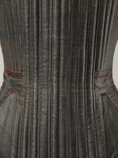 Corset (view L), 1840-50 (cotton, metal, leather & satin)